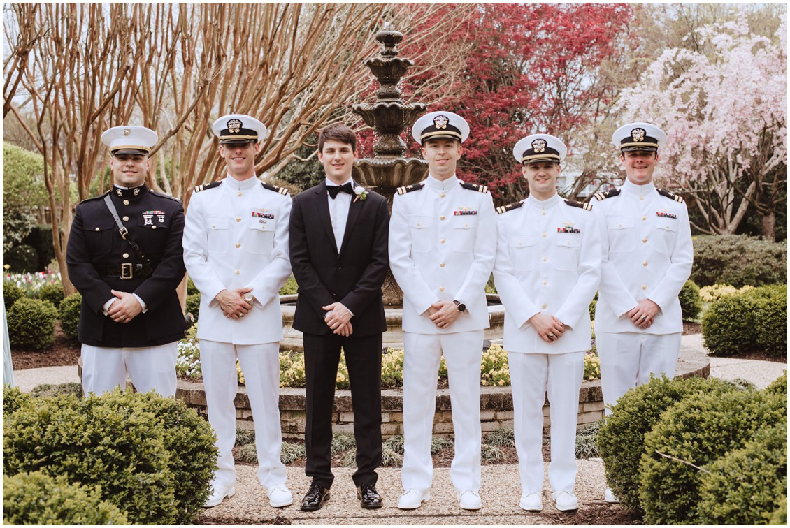 Groom and groomsmen in Naval sailor uniform  | My Eastern Shore Wedding |