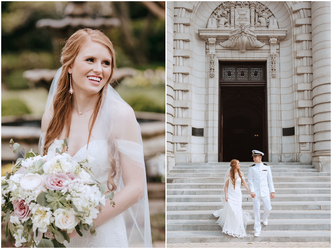 Bridal portrait and bride and groom walking down steps of US Naval Academy CHapel | My Eastern Shore Wedding |