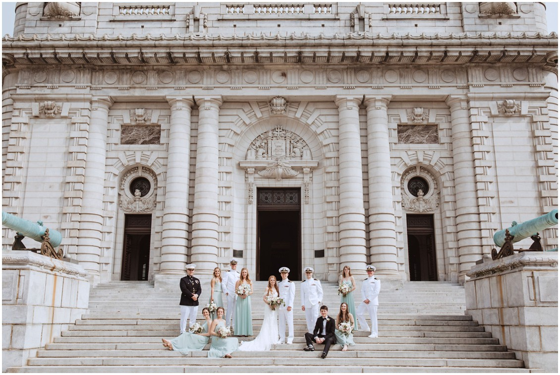 Bridal party posed on steps of US Naval Academy Capel | My Eastern Shore Wedding |