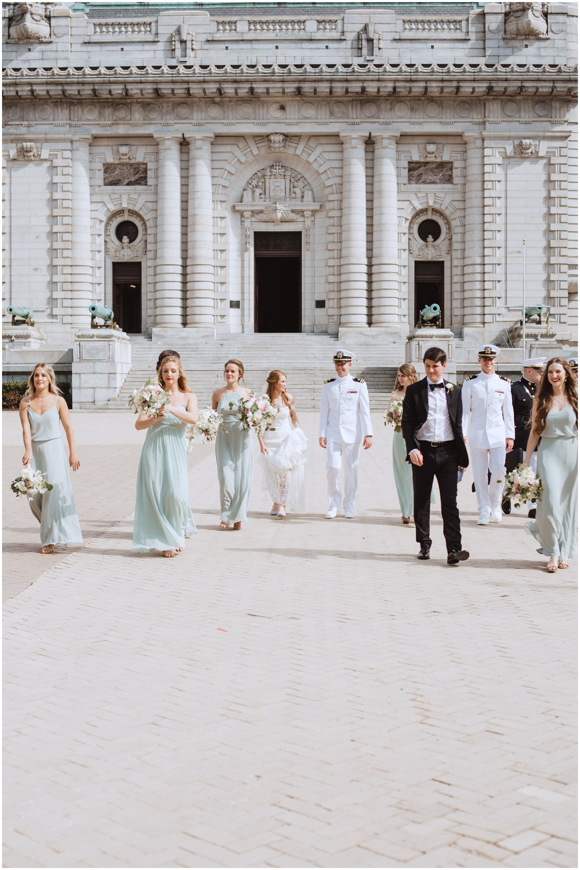 Bridal party walking in front of US Naval Academy Capel | My Eastern Shore Wedding |