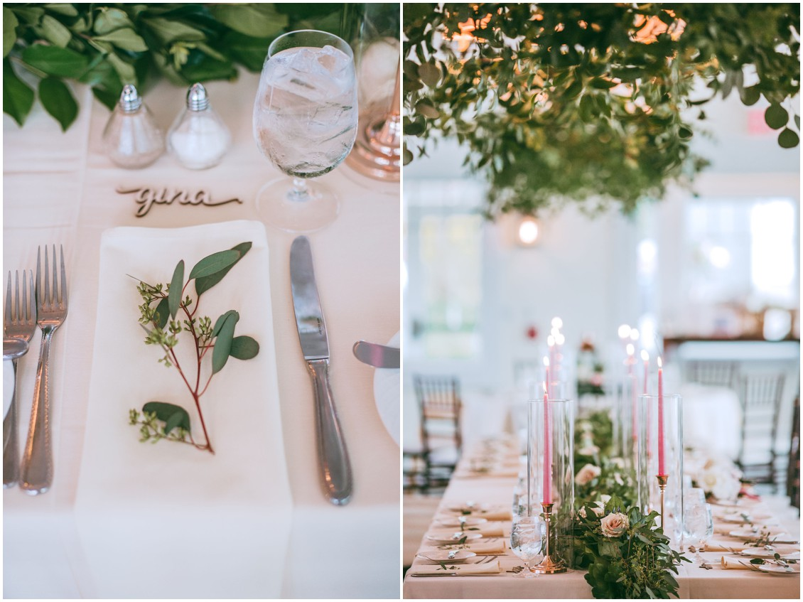 Greenery on table and pink tapers in glass hurricanes at wedding reception  | My Eastern Shore Wedding | Chesapeake Bay Beach Club