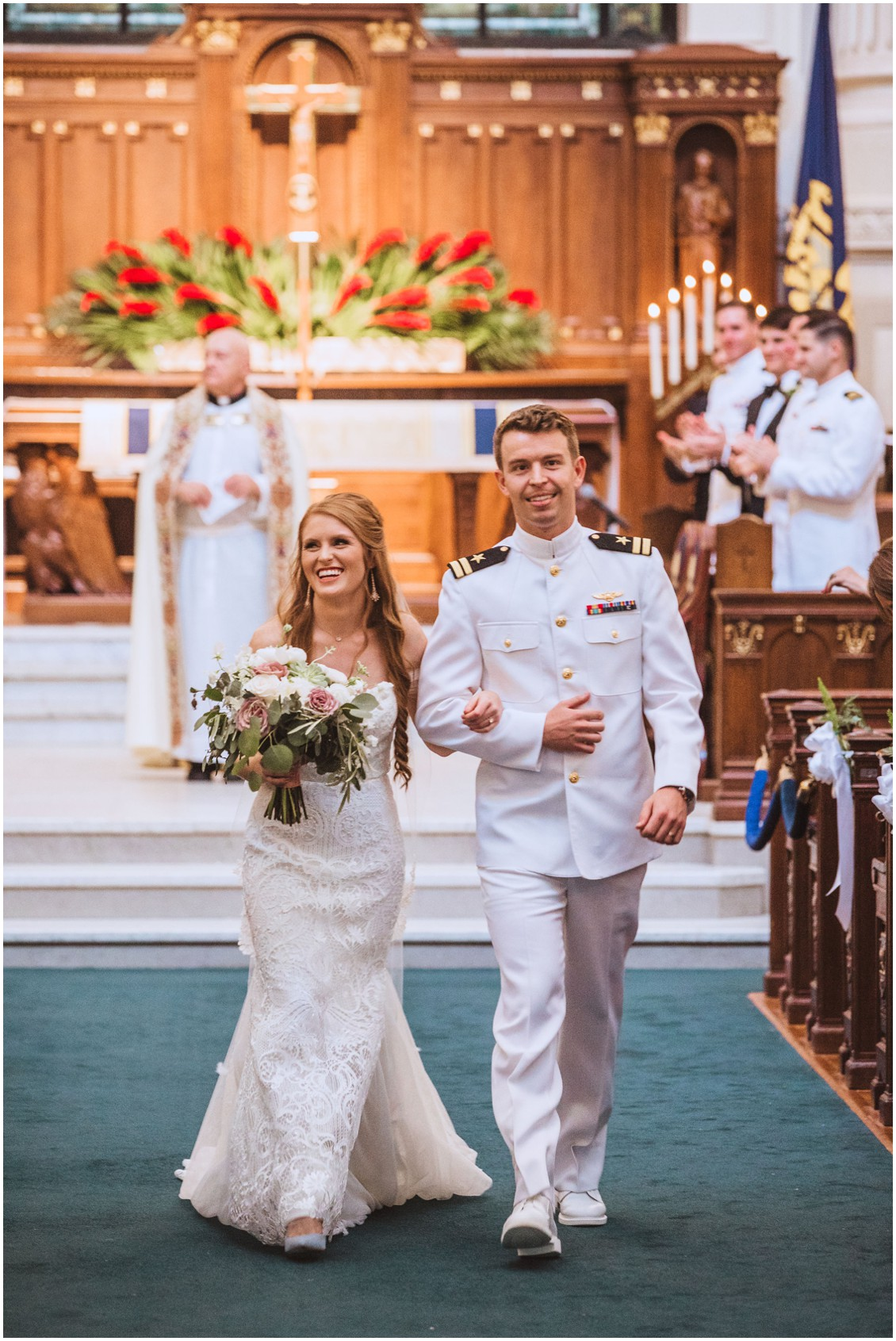 BRide and groom walking down the aisle of the  US Naval Academy Chapel | My Eastern Shore Wedding |