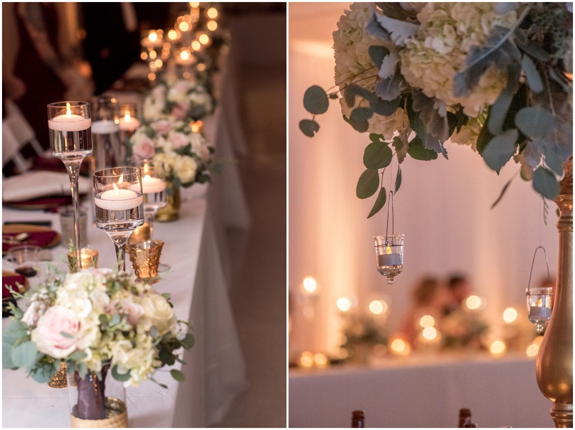 Details of table with bouquets, mercury glass candles and candles hanging from high centerpiece | My Eastern Shore Wedding | Karena Dixon | Monteray Farms