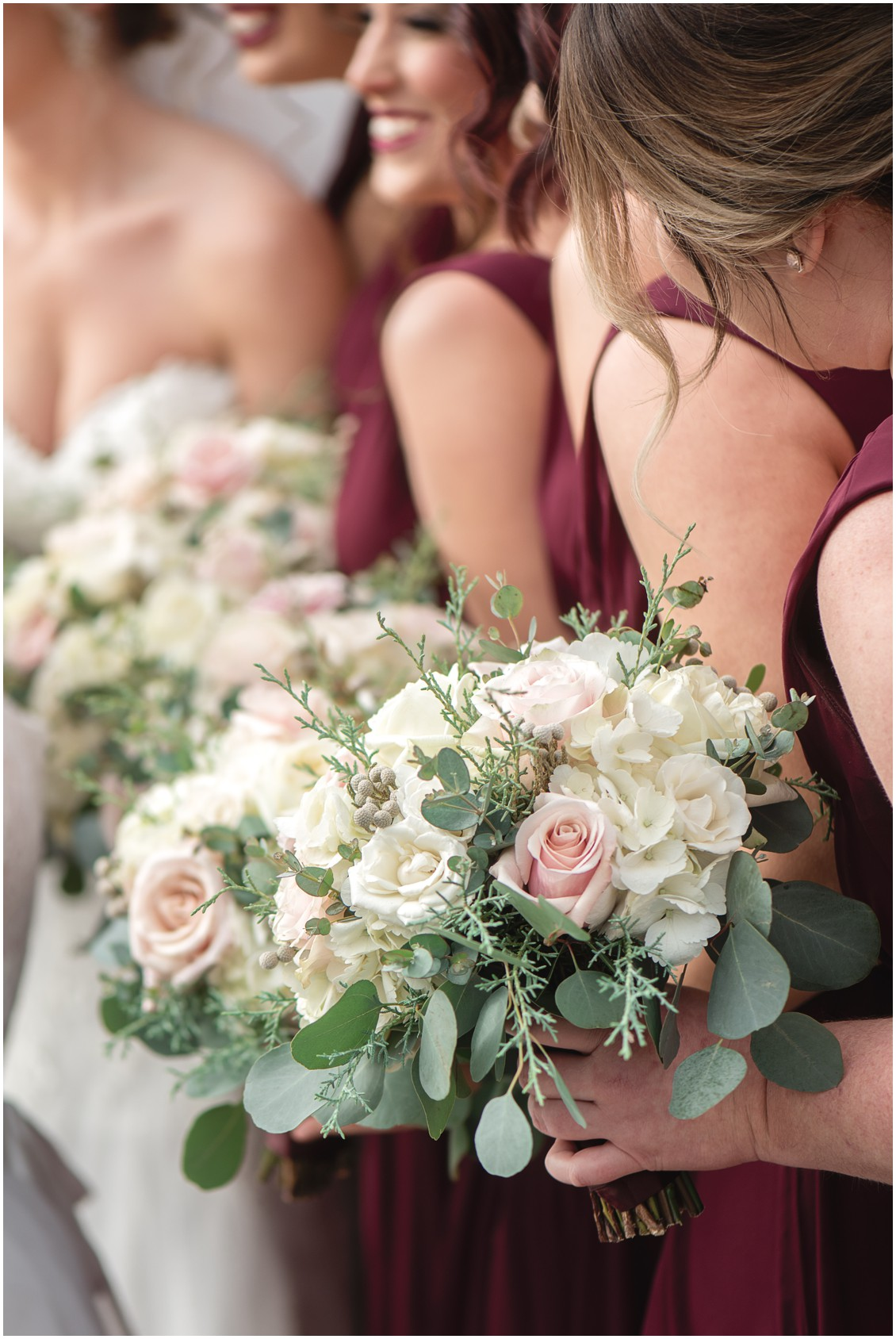 Floral bouquets blush roses and white for winter wedding | My Eastern Shore Wedding | Karena Dixon | Monteray Farms
