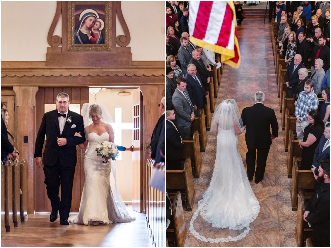 Bride and father walking up aisle of church| My Eastern Shore Wedding | Karena Dixon | Monteray Farms