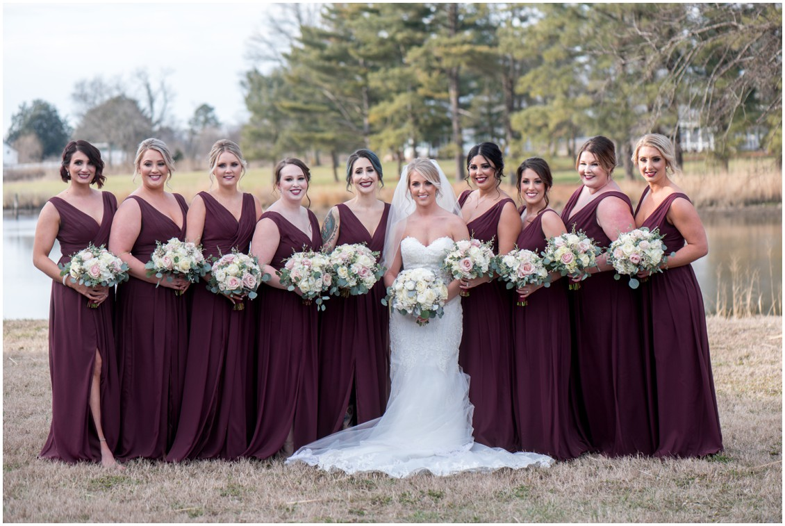 Bride with bridesmaids in burgundy dresses winter wedding | My Eastern Shore Wedding | Karena Dixon | Monteray Farms