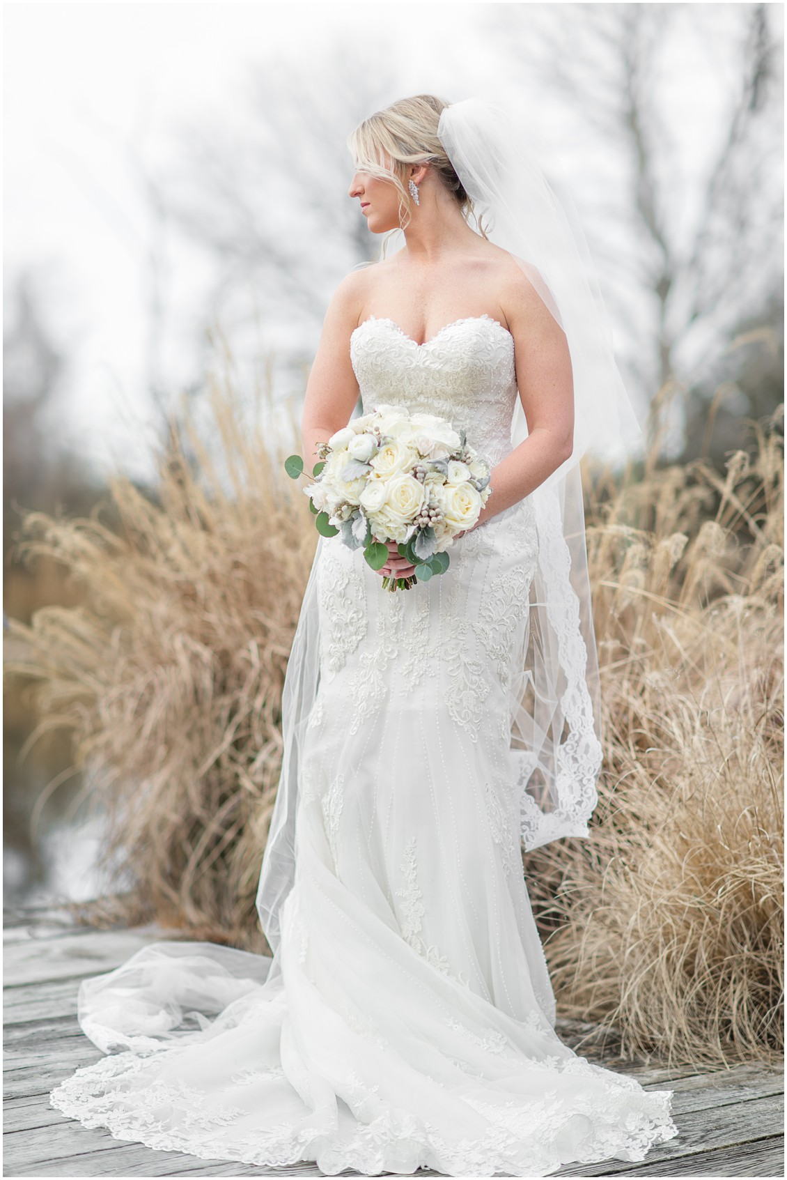 Bridal portrait winter wedding with marsh grass background| My Eastern Shore Wedding | Karena Dixon | Monteray Farms