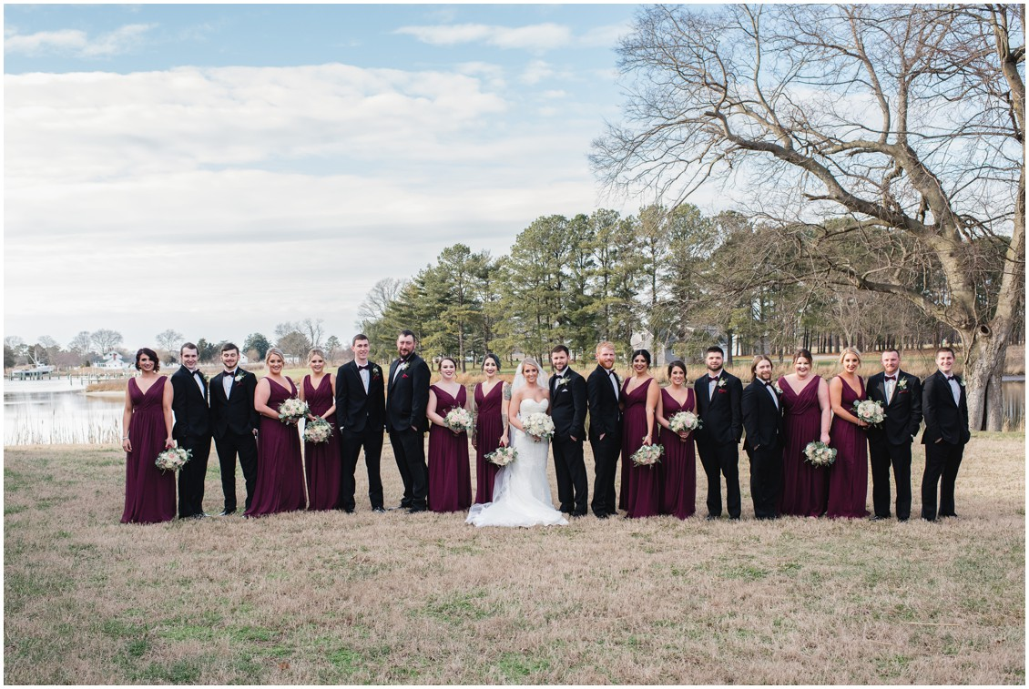 Bride and groom with entire bridal party | My Eastern Shore Wedding | Karena Dixon | Monteray Farms