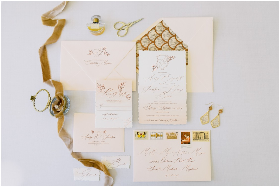 Detail of stationery suite with mustard and cream tones | My Eastern Shore Wedding | Hannah Belle Events | Eastern Shore Tents and Events