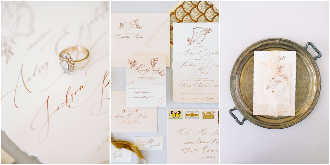 Detail of cream stationery suite and engagement ring | My Eastern Shore Wedding | Hannah Belle Events | Eastern Shore Tents and Events