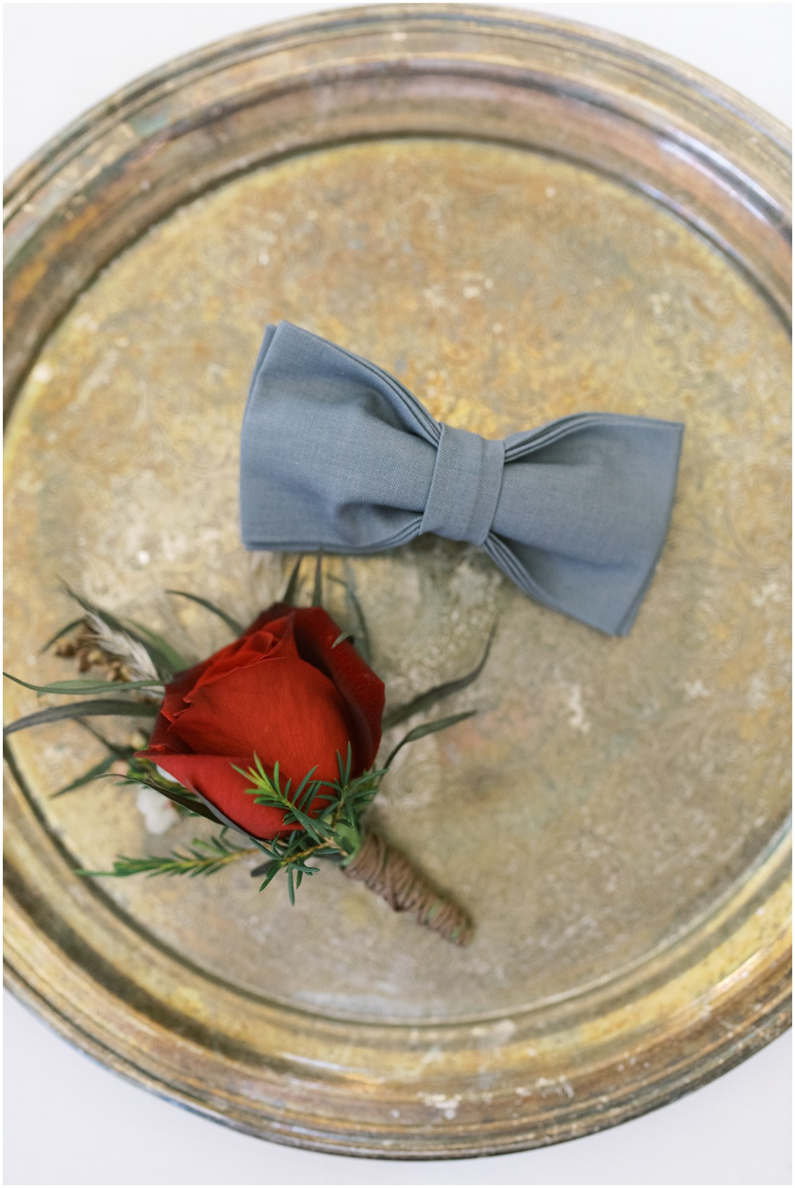 Detail of groom's bow tie and red rose boutonniere | My Eastern Shore Wedding | Hannah Belle Events | Eastern Shore Tents and Events