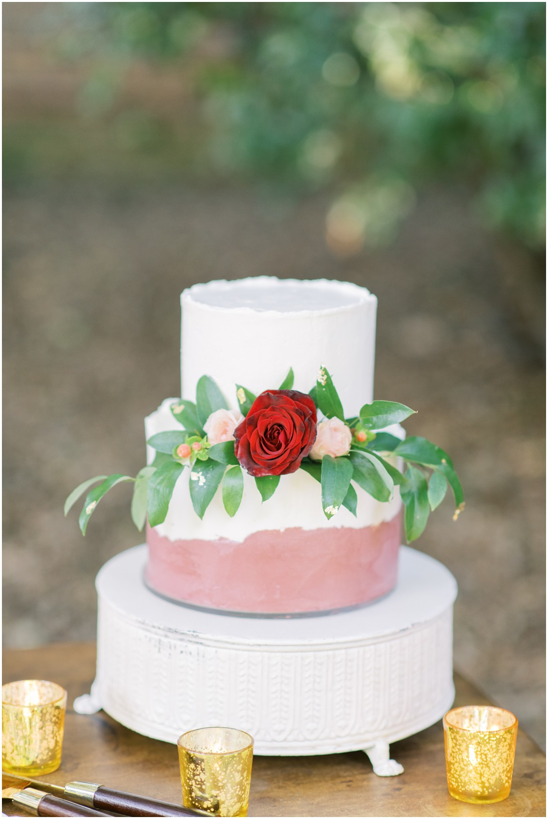 Detail of wedding cake with red rose and cream flowers | My Eastern Shore Wedding | Hannah Belle Events | Eastern Shore Tents and Events