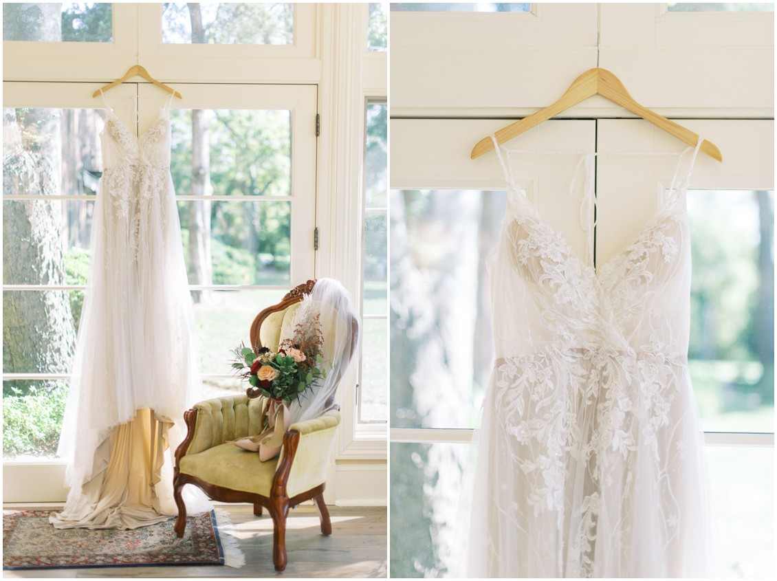 Bridal Gown in window at grand manor house | My Eastern Shore Wedding | Hannah Belle Events | Eastern Shore Tents and Events