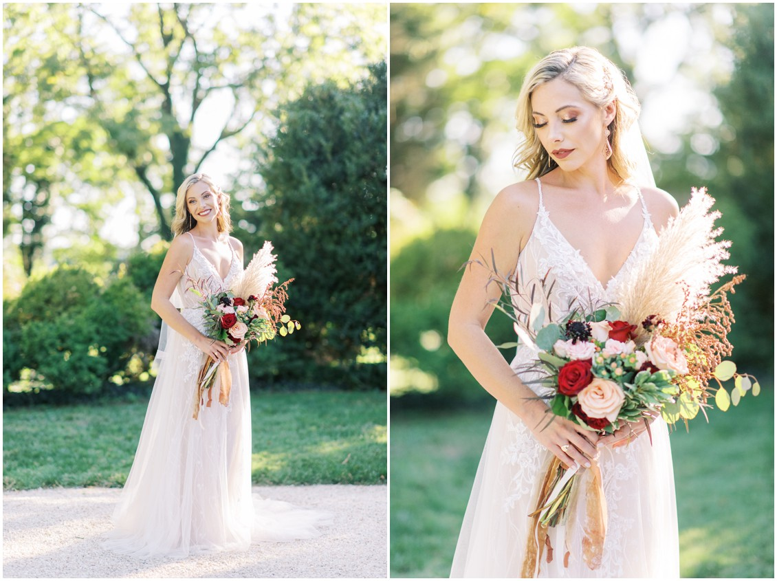 Bride with classic bouquet of red and cream and blush flowers with pampas grass | My Eastern Shore Wedding | Hannah Belle Events | Eastern Shore Tents and Events