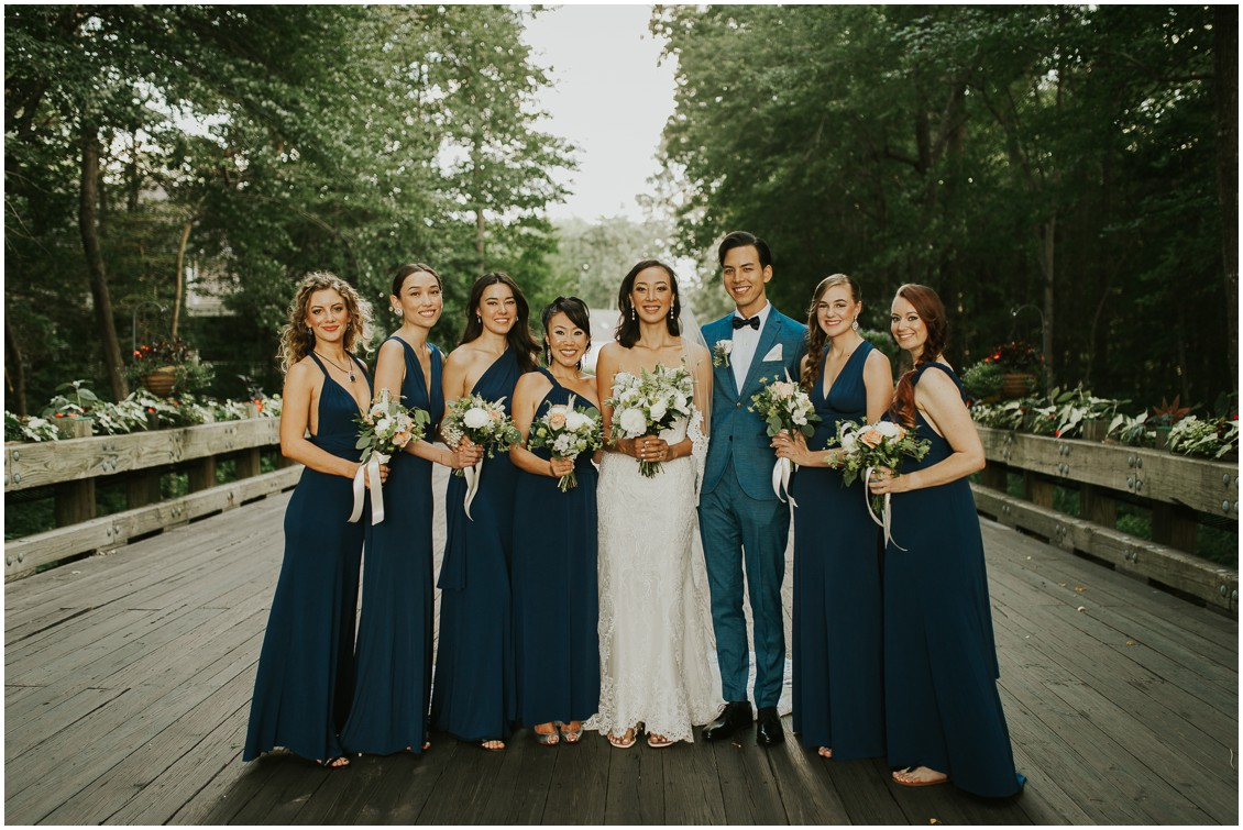 Bridal party with bride at the Clubhouse at Baywood | My Eastern Shore Wedding