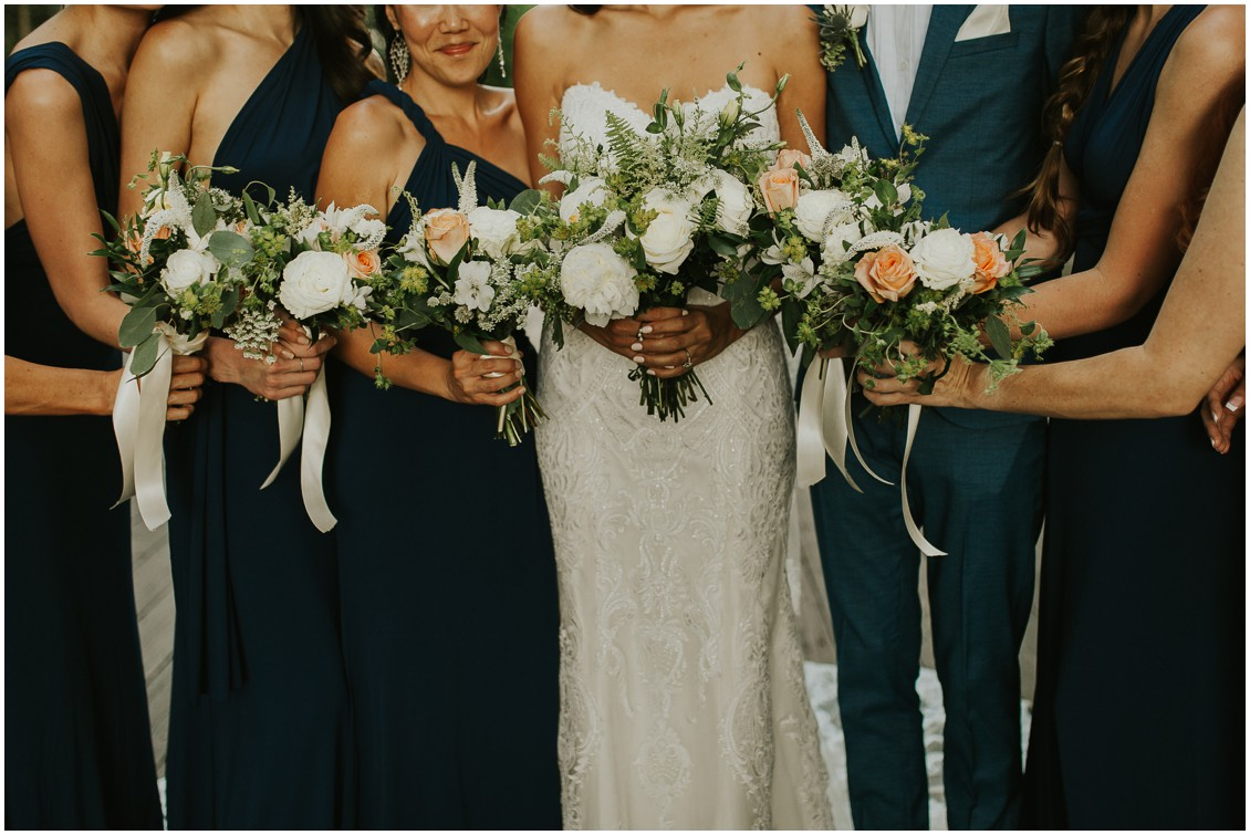 Bridal party holding bridal bouquets | My Eastern Shore Wedding