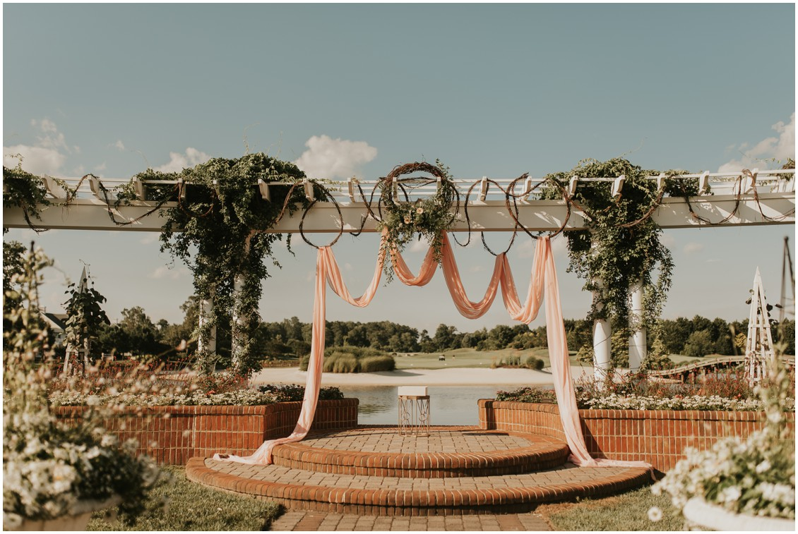 Decorative arch on veranda of The Clubhouse at Baywood | My Eastern Shore Wedding