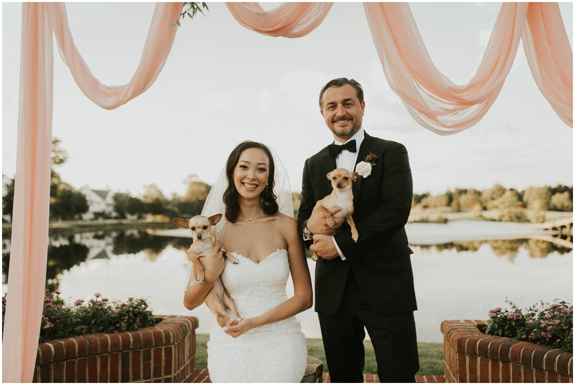 Bride and groom with chihuahuas | My Eastern Shore Wedding