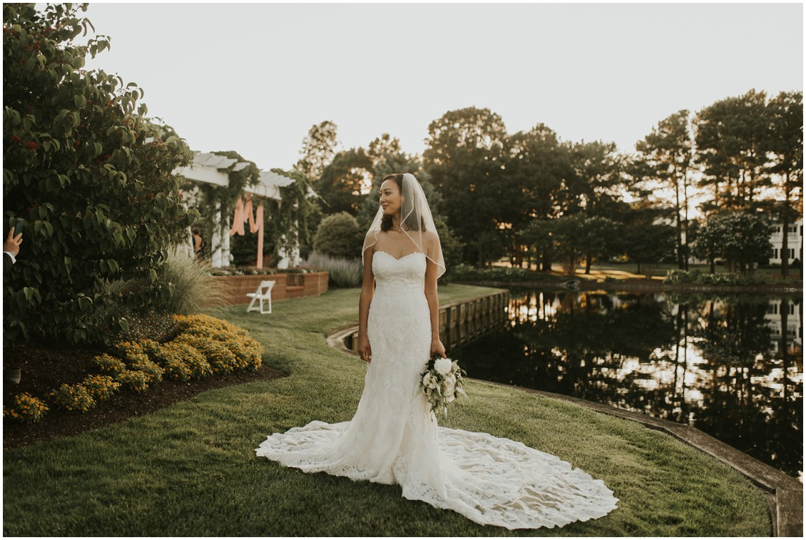 Portrait of bride in lace dress at the Clubhouse at Baywood | My Eastern Shore Wedding
