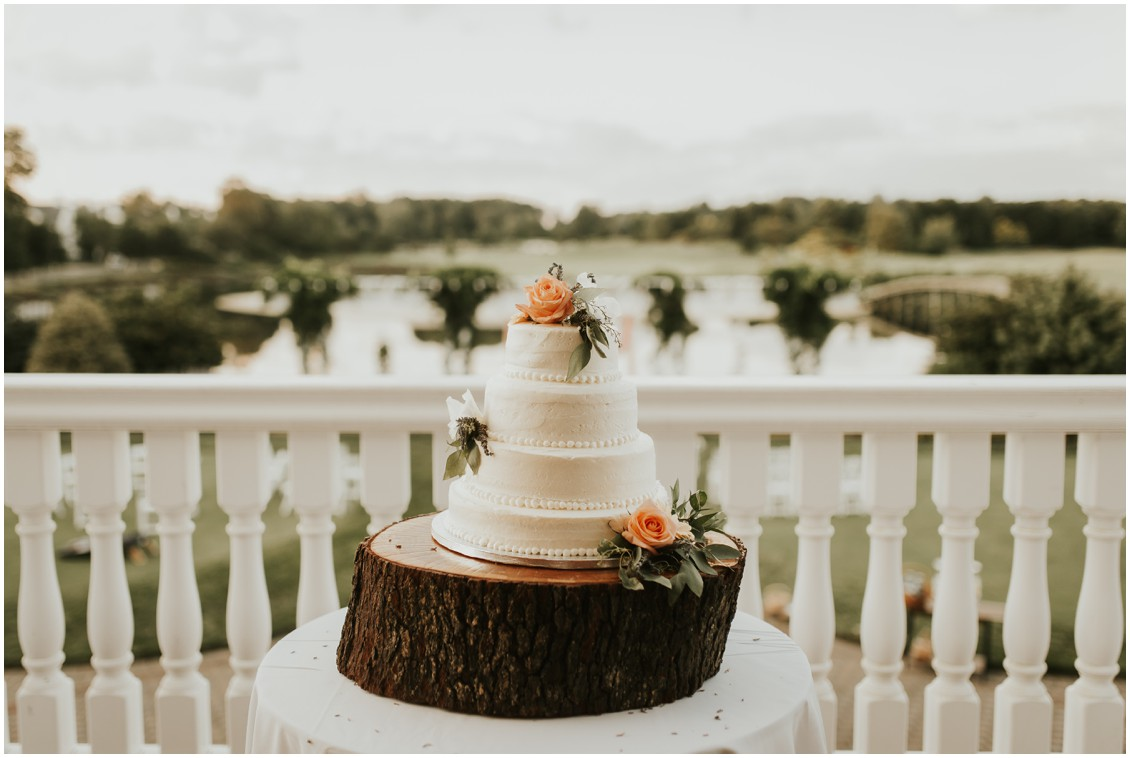 Wedding cake with flowers at the Clubhouse at Baywood | My Eastern Shore Wedding