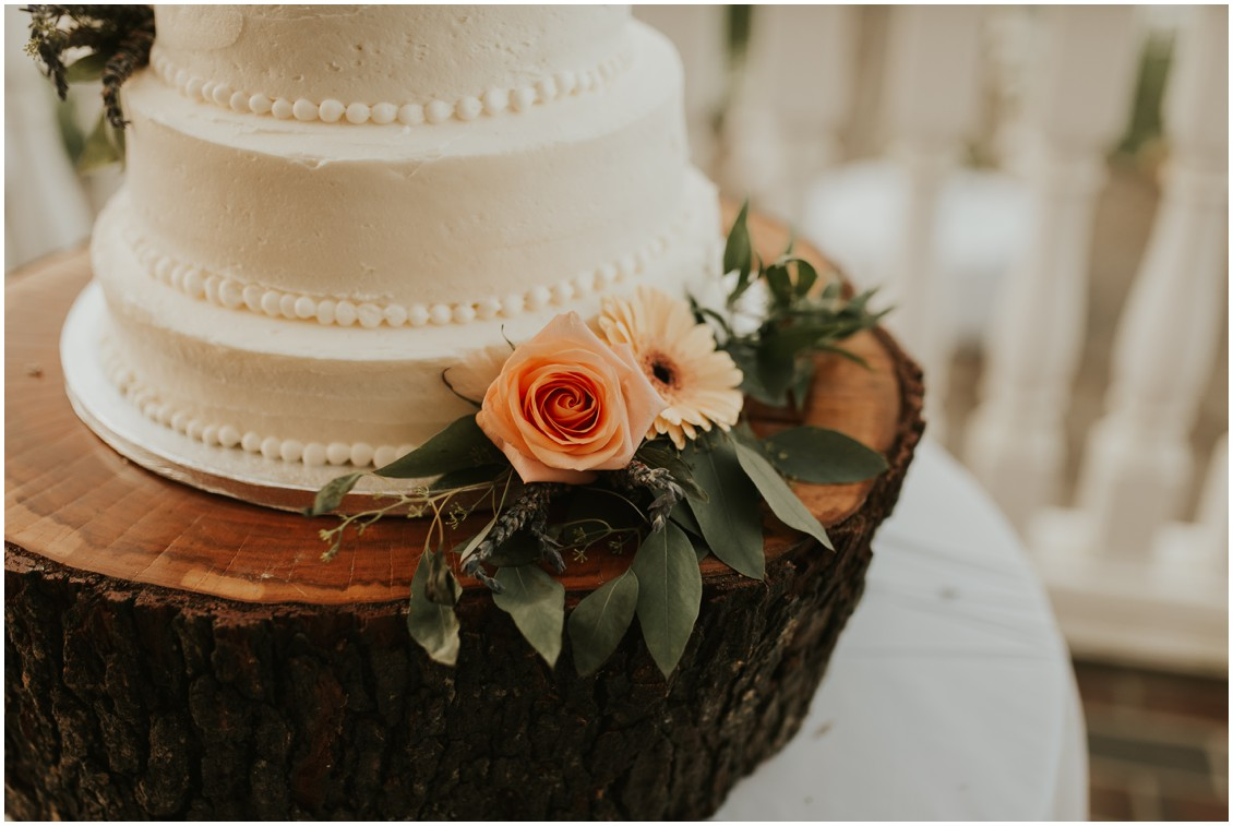 Detail photo of wedding cake with flowers | My Eastern Shore Wedding