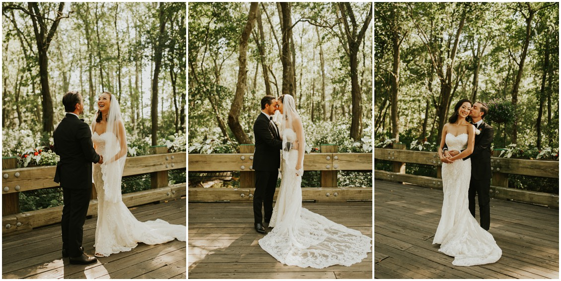 Series of first look photos of bride and groom | My Eastern Shore Wedding