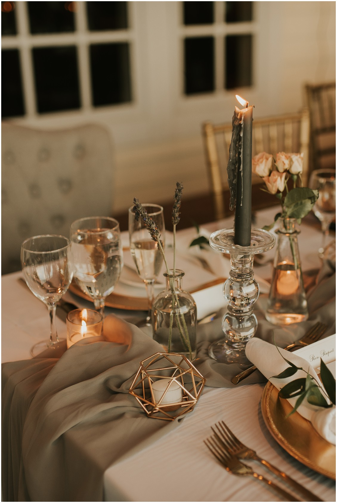 Detail of table with gray tapered candles and runner  | My Eastern Shore Wedding