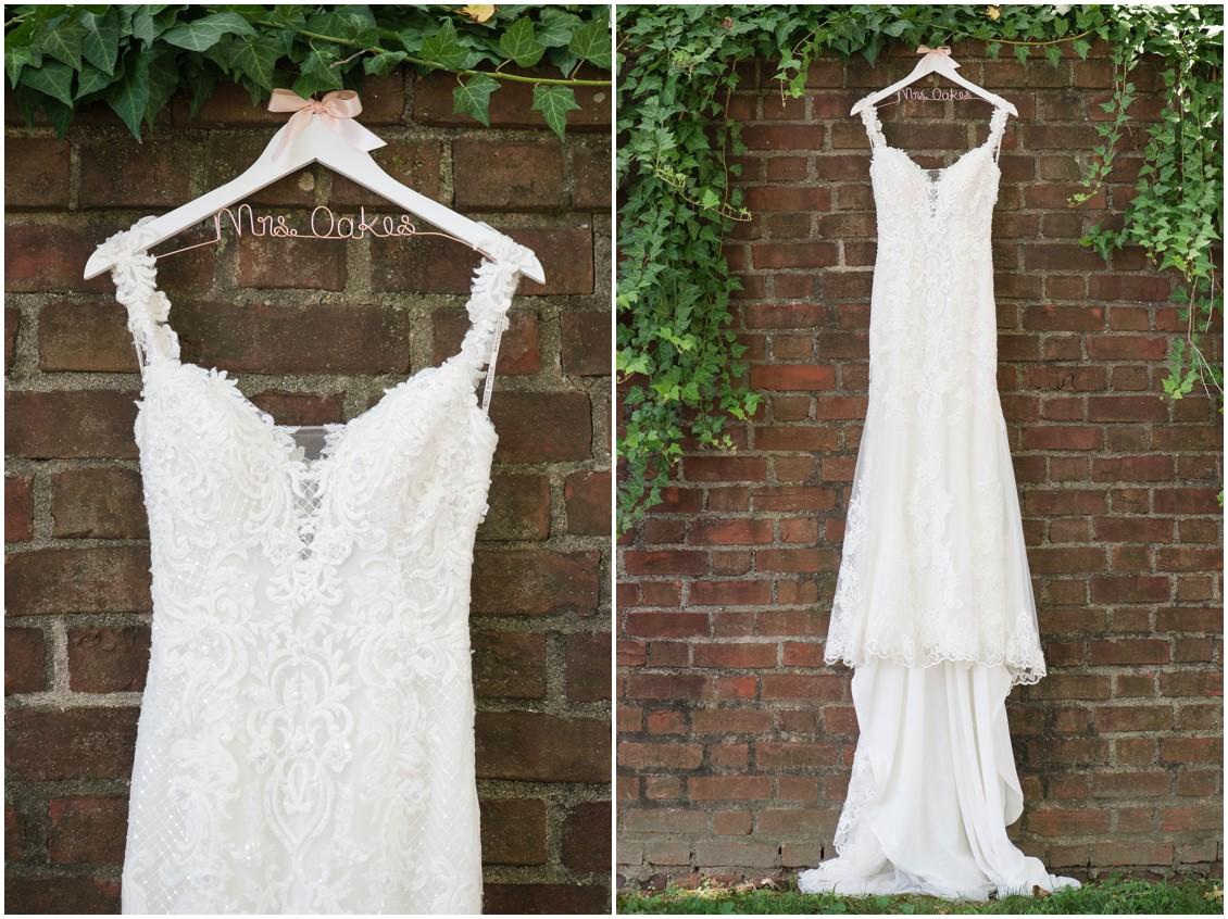 Bridal gown on custom hanger | Brittland Manor | Rob Korb | My Eastern Shore Wedding