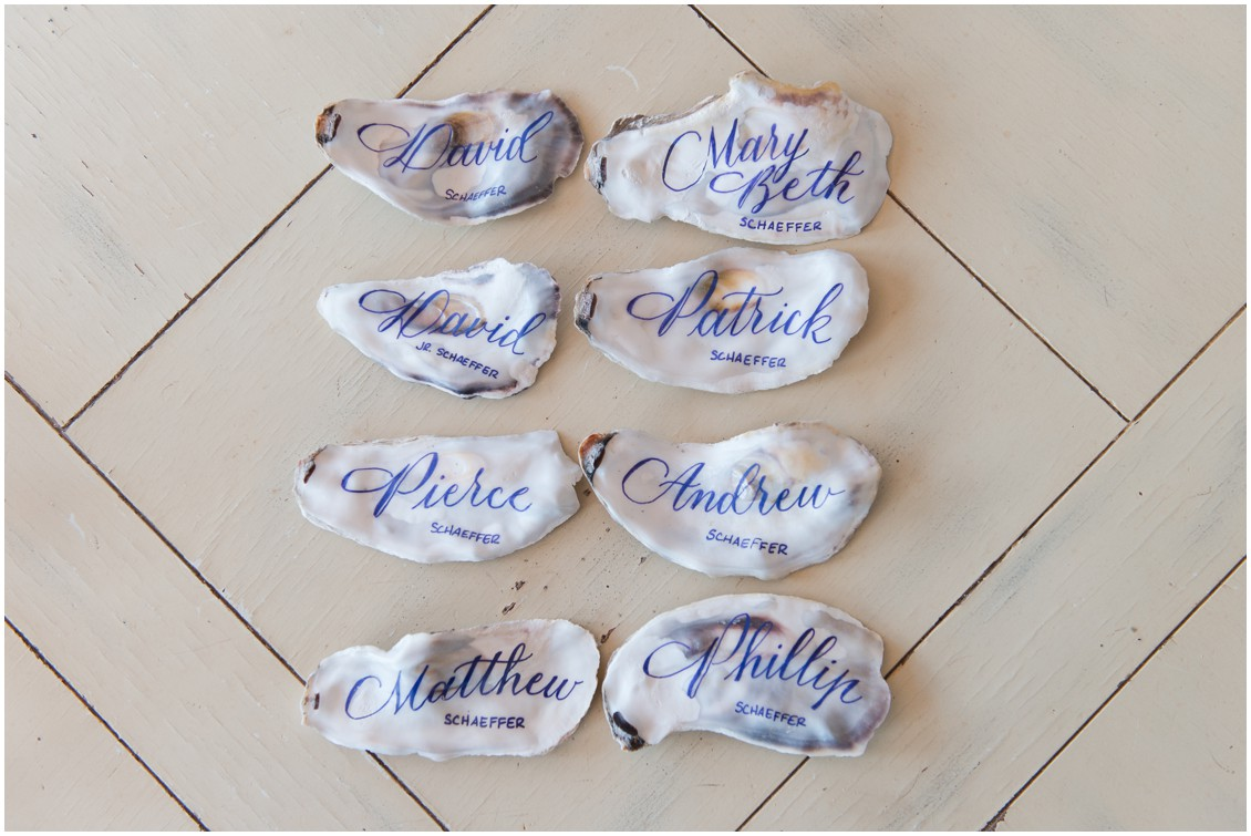 Oyster shell placecards | Brittland Manor | Rob Korb | My Eastern Shore Wedding