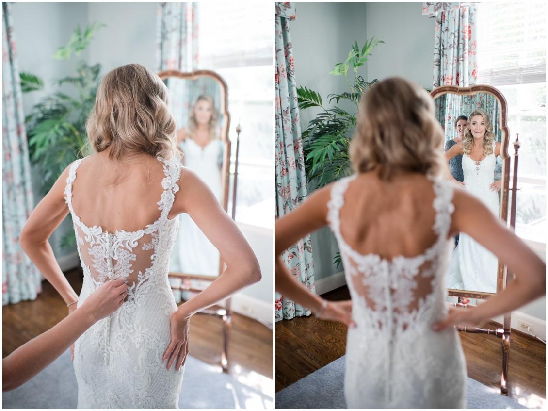 Bride getting ready in mirror | Brittland Manor | Rob Korb | My Eastern Shore Wedding