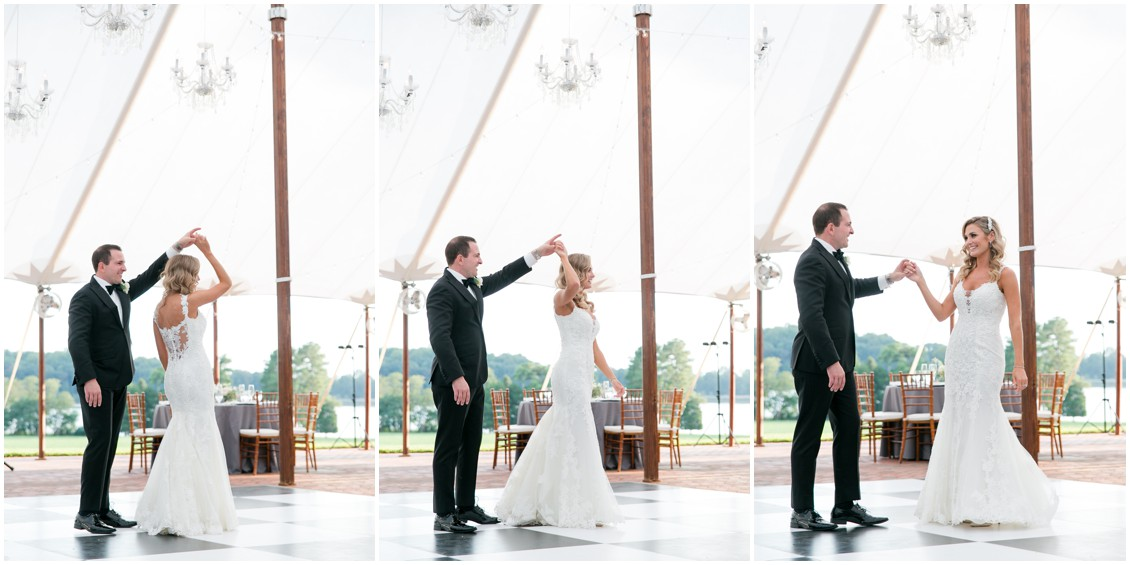 Bride and Groom dancing | Brittland Manor | Rob Korb | Eastern Shore Tents and Events | My Eastern Shore Wedding