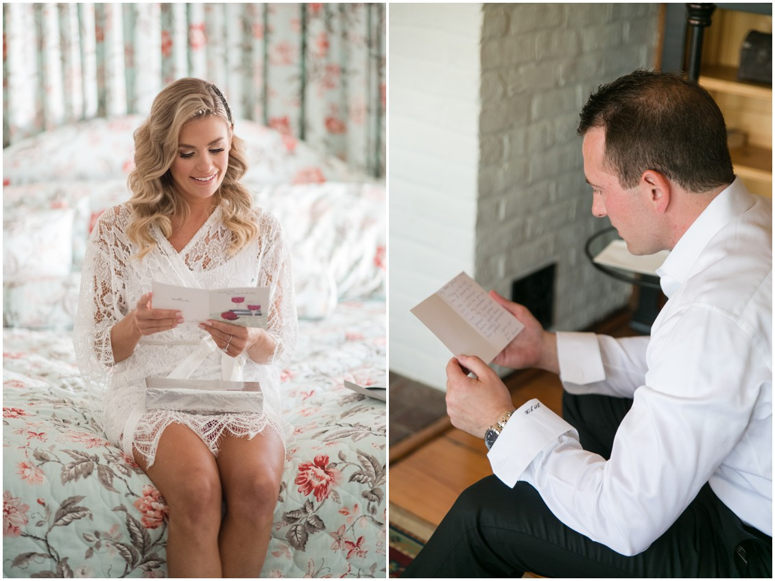 Bride and groom reading love letters | Brittland Manor | Rob Korb | My Eastern Shore Wedding