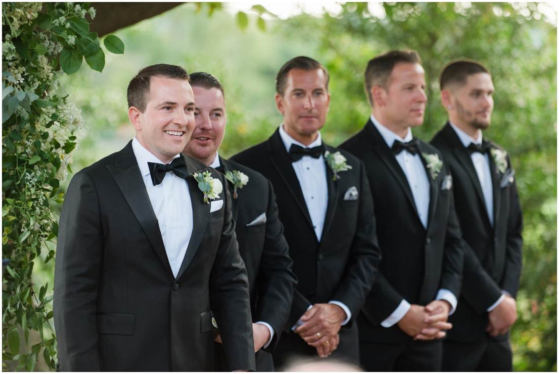 Groom and groomsmen at wedding ceremony  | Brittland Manor | Rob Korb | My Eastern Shore Wedding