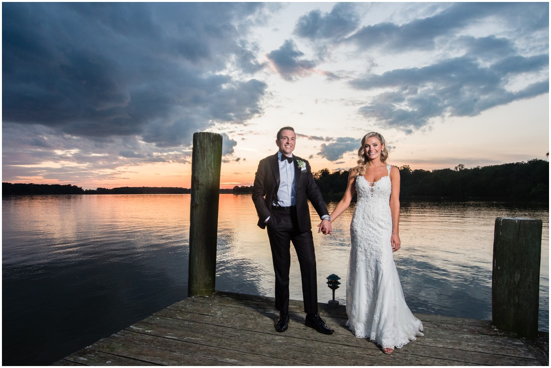 Bride and groom on dock at sunset | Brittland Manor | Rob Korb |  My Eastern Shore Wedding