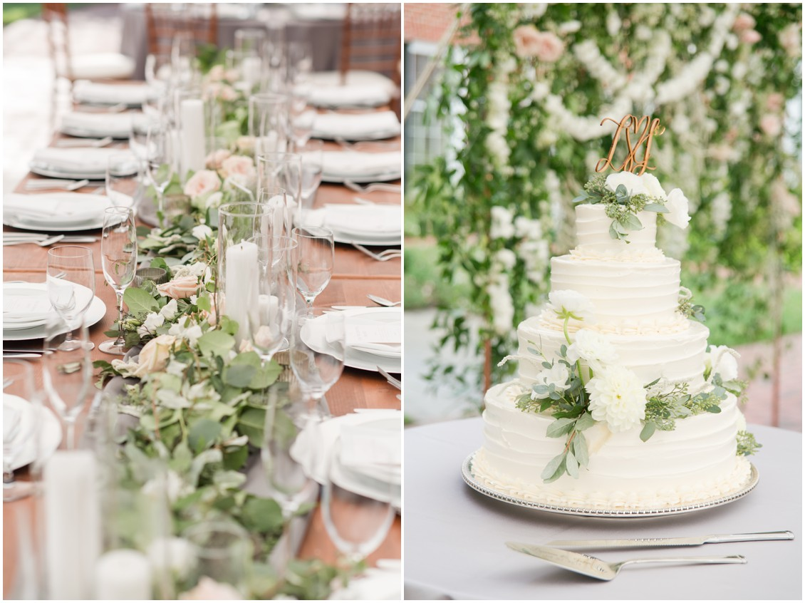 Details of tablescape with runner and white flowers and wedding cake | Brittland Manor | Rob Korb | My Eastern Shore Wedding