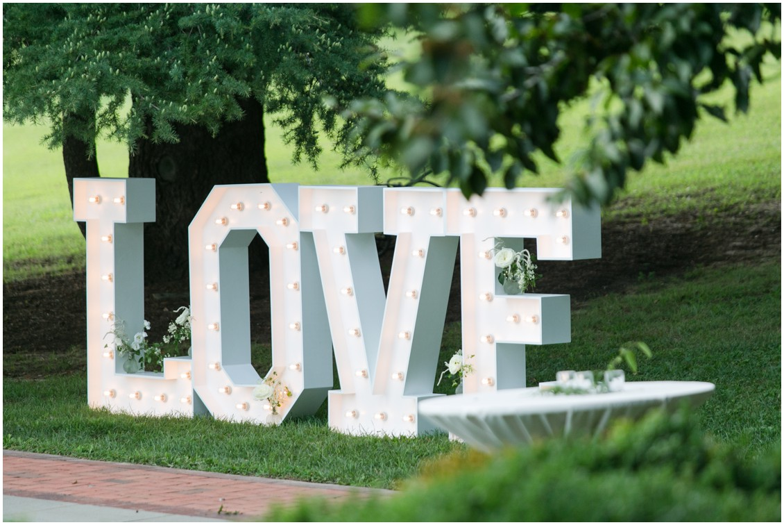 Giant love sign at wedding | Brittland Manor | Rob Korb | My Eastern Shore Wedding