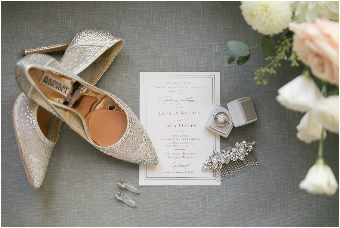Bridal details, shoes, jewelry and invitations | Brittland Manor | Rob Korb | My Eastern Shore Wedding