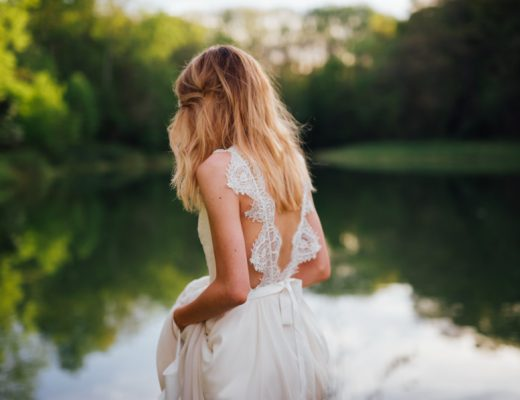 Bride wears sustainable, recycled wedding dress at her Eastern Shore of Maryland Wedding