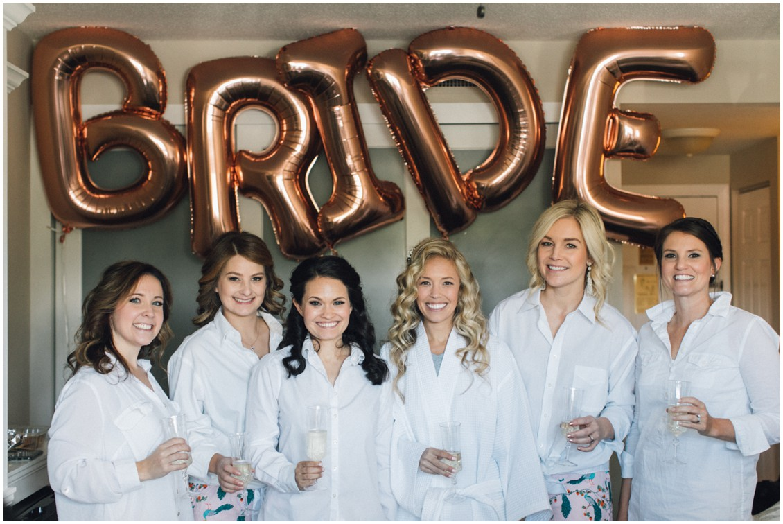 Bride and bridesmaids getting ready with champagne | My Eastern Shore Wedding | Chesapeake Bay Maritime Museum