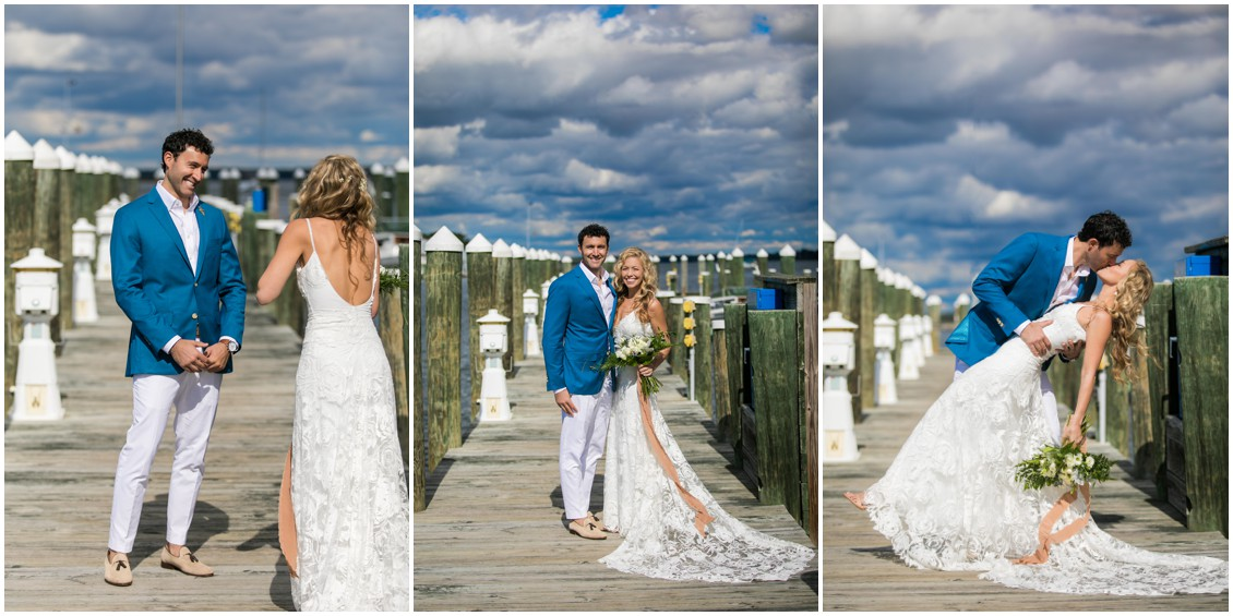 Bride and groom first look, first portrait, kissing | My Eastern Shore Wedding | Chesapeake Bay Maritime Museum