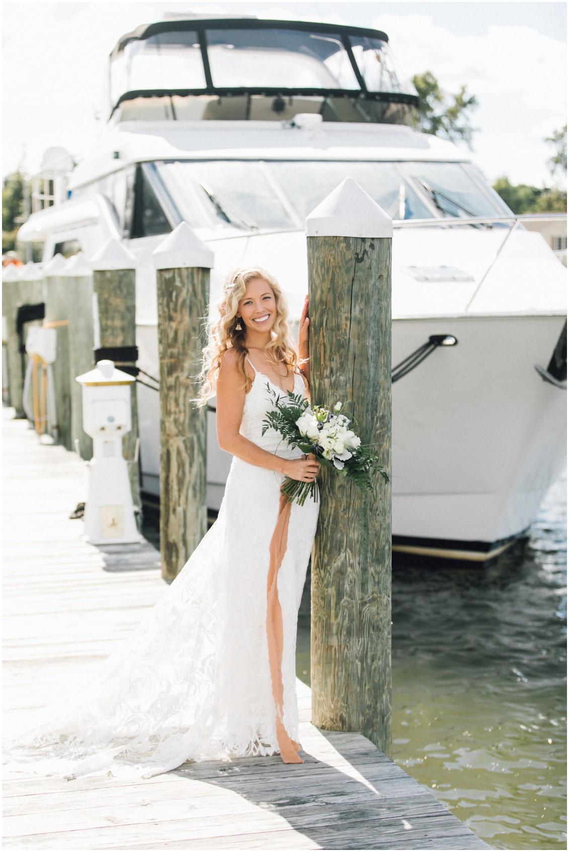 Bridal portrait on dock | My Eastern Shore Wedding | Chesapeake Bay Maritime Museum