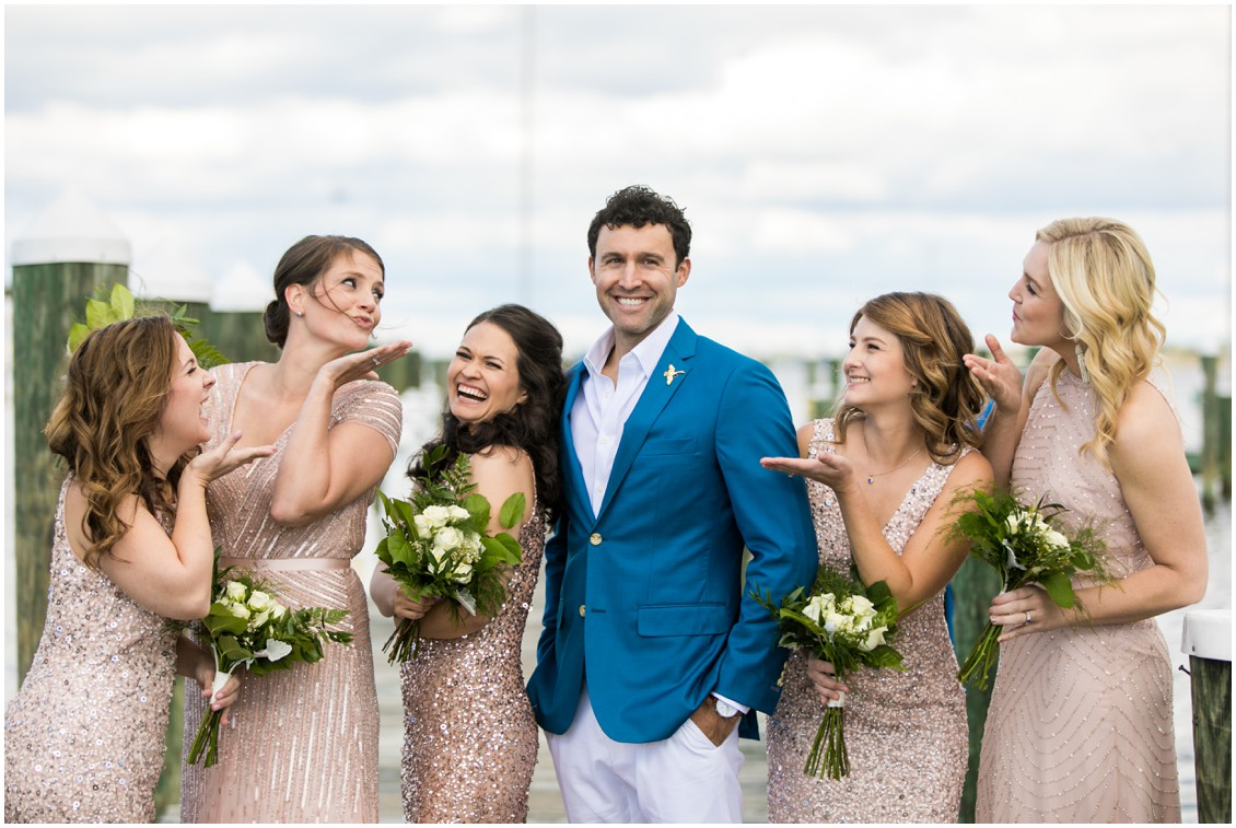 Groom with bridesmaids in blush sequined dresses | My Eastern Shore Wedding | Chesapeake Bay Maritime Museum