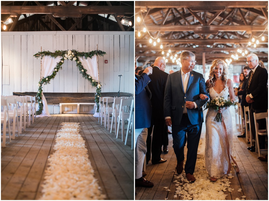Aisle with rose petals and bride and father of the bride walking towards altar | My Eastern Shore Wedding | Chesapeake Bay Maritime Museum