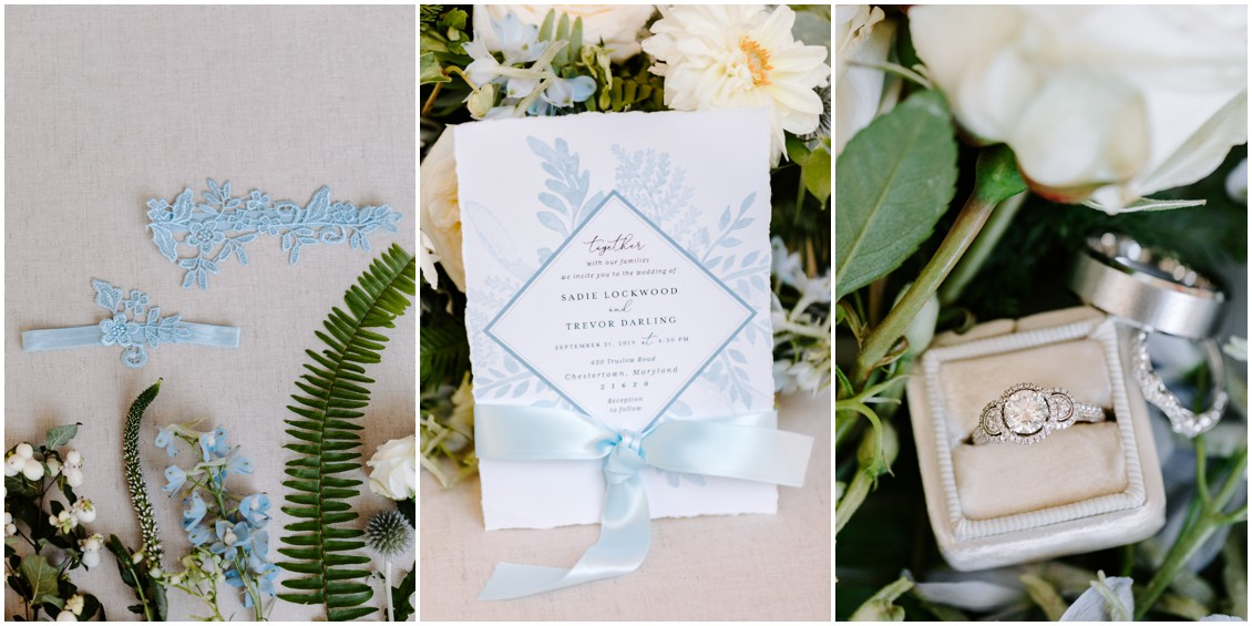 Demure blue and soft green flat lay of wedding stationery and details | My Eastern Shore Wedding | Sherwood Florist