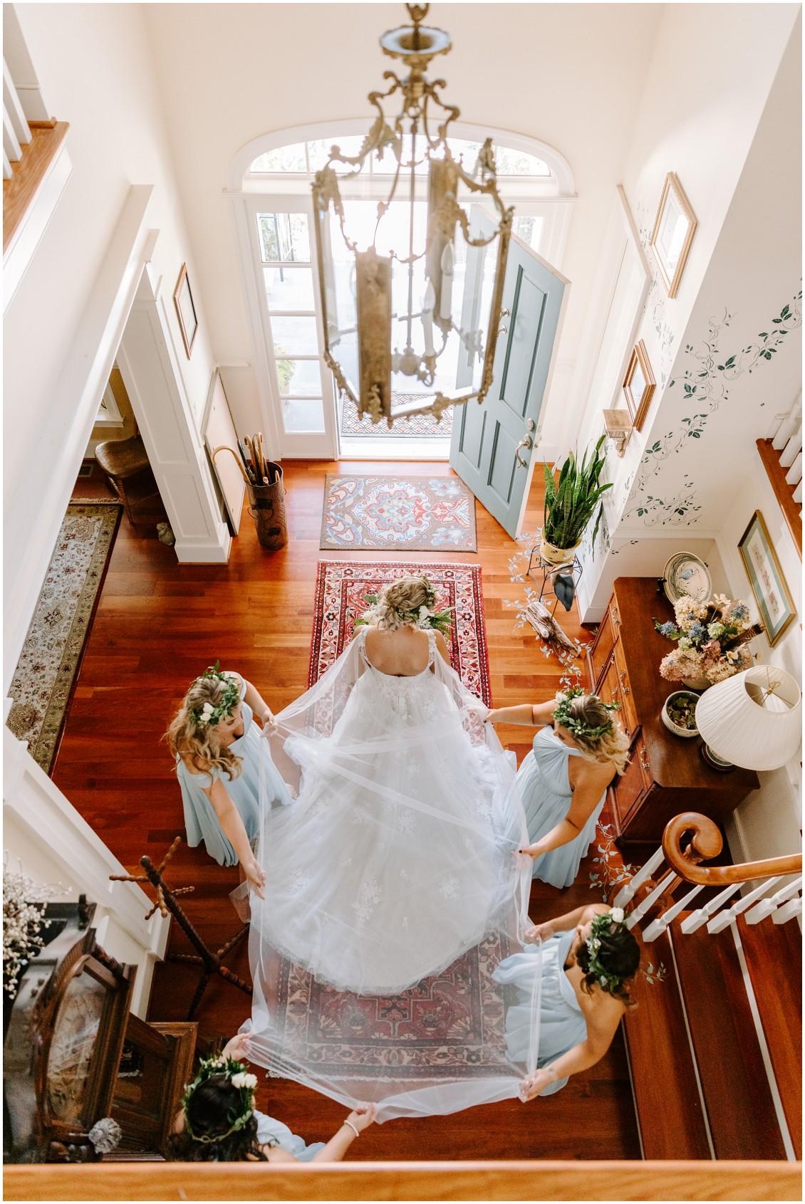 Bridal cape detail from balcony | My Eastern Shore Wedding | Sherwood Florist