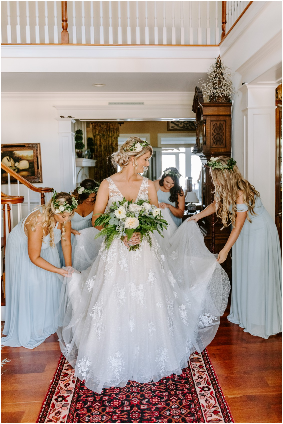 Bride holding bouquet blue and soft greenery bridal cape getting ready | My Eastern Shore Wedding | Sherwood Florist
