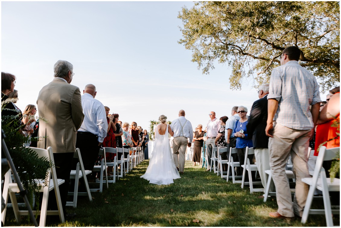 Bride walking down the aisle | My Eastern Shore Wedding | Sherwood Florist | Eastern Shore Tents and Events
