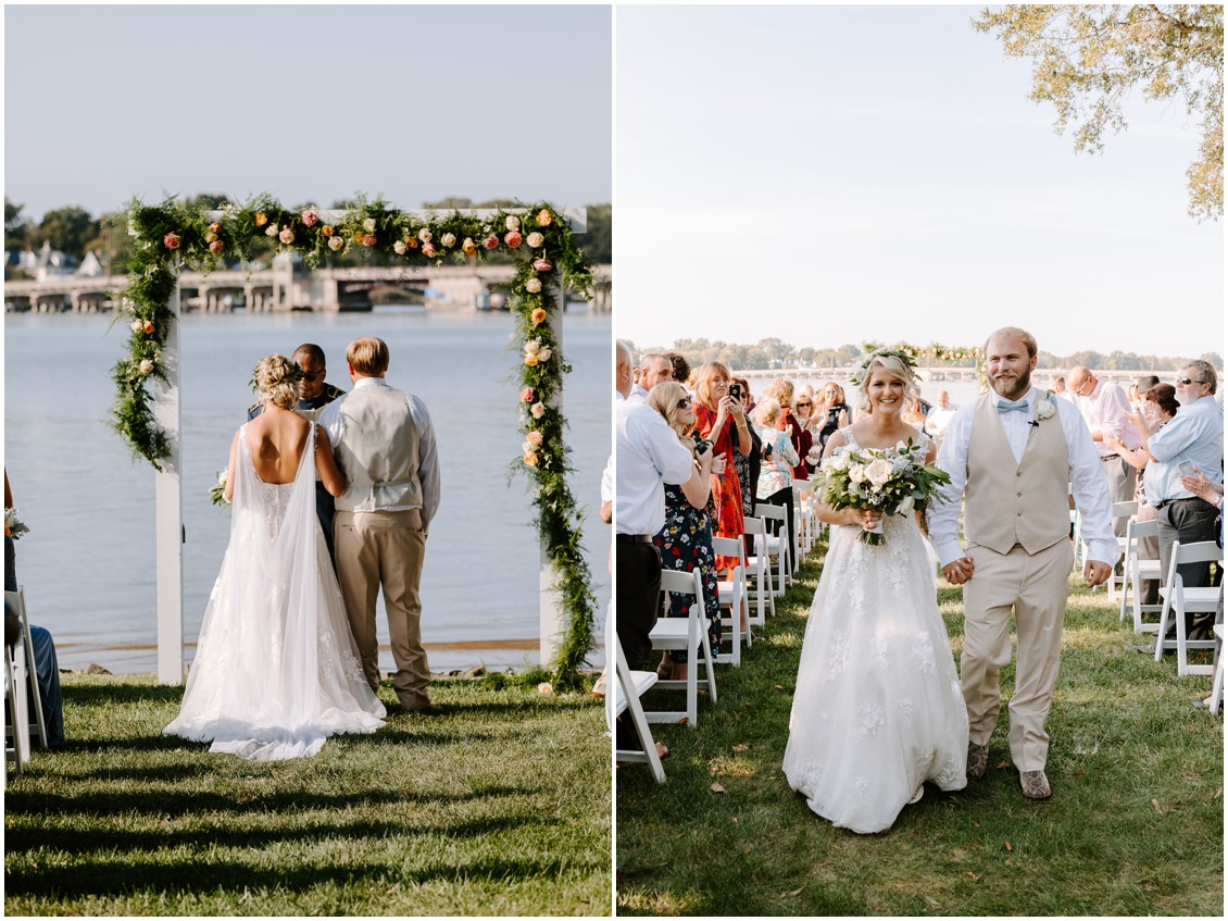 Bride and groom walking down the aisle | My Eastern Shore Wedding | Sherwood Florist | Eastern Shore Tents and Events