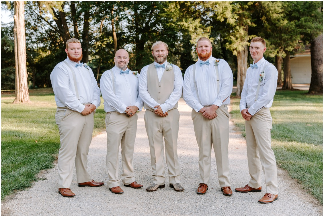 Groom and groomsmen with soft blue bow ties | My Eastern Shore Wedding | Sherwood Florist | Eastern Shore Tents and Events