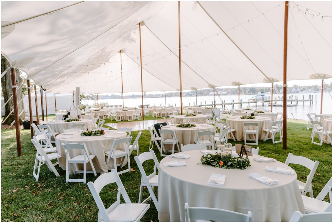 Detail of tent and table arrangements  | My Eastern Shore Wedding | Sherwood Florist | Eastern Shore Tents and Events